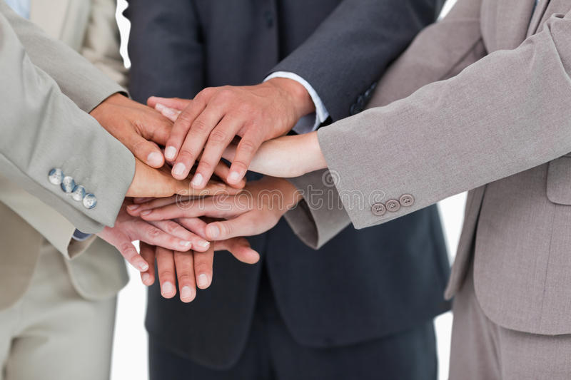 Hands of businesspeople together royalty free stock photo