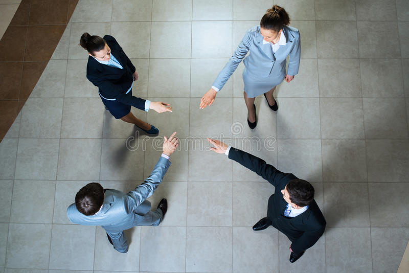 Hands of businesspeople together. Image of a businessman hands pointing to each other stock photos