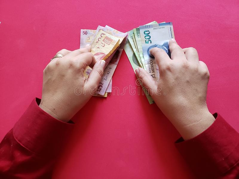hands of a businesswoman holding mexican banknotes stock images