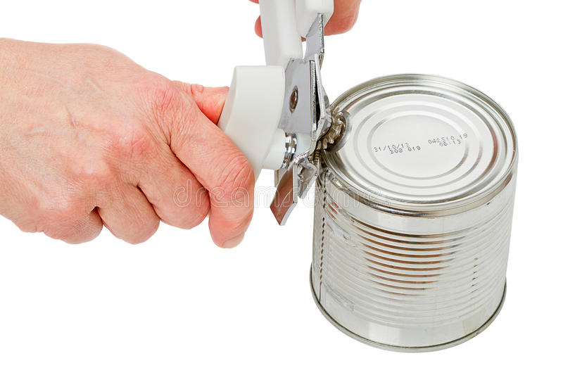 Hands with a can opener royalty free stock images