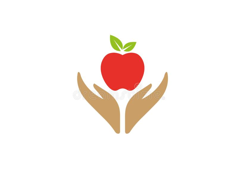 Hands that care for food and nature hold apple for logo design. Illustration royalty free illustration