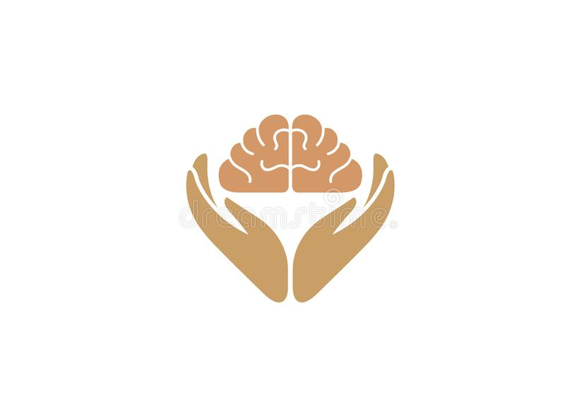 Hands care human brain and knowledge for logo design. Illustration, smart education icon stock illustration