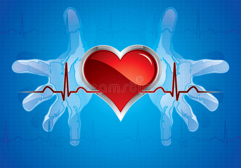 Download Hands caring heart stock vector. Image of heartbeat, line - 20921048