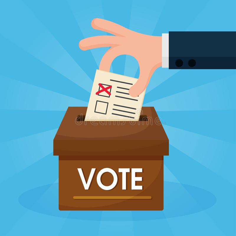 The hands Cartoon that are voting are put in the brown box. Elections. Vector Illustration royalty free illustration