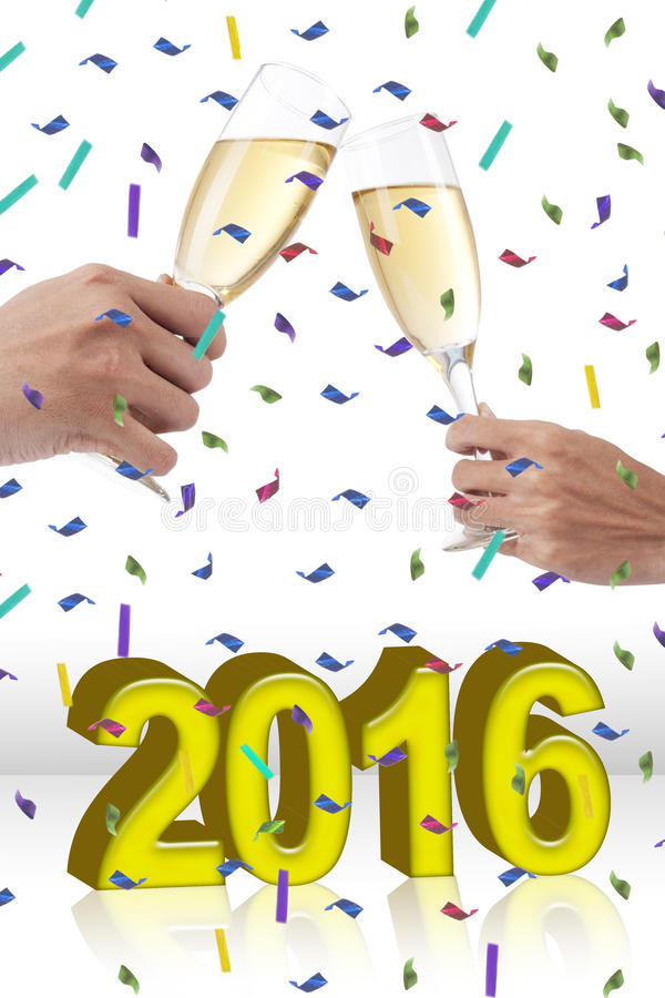 Hands celebrating new year and toasting champagne stock image