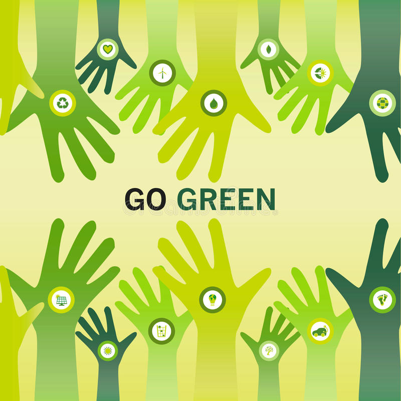 Download Hands Cheering Go Green For Eco Friendly And Sustainable World O Stock Illustration - Image: 31264392
