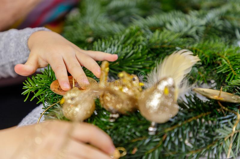 Hands of a child and woman decorate Christmas Advent wreath from fir twigs stock photography