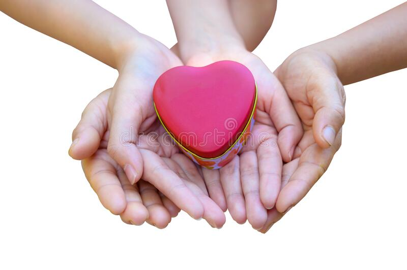 The hands of children and adults in the family have a heart in their hands. Isolate royalty free stock images