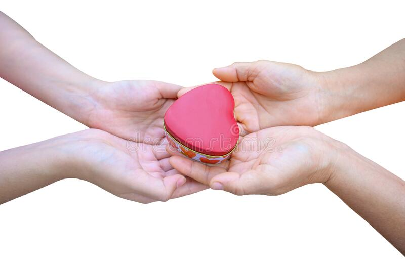 The hands of children and adults in the family have a heart in their hands. Isolate stock images