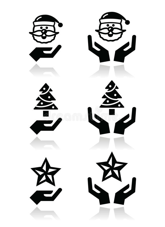 Download Hands With Christmas Icons - Santa Claus, Tree, Star Royalty Free Stock Photo - Image: 34650965