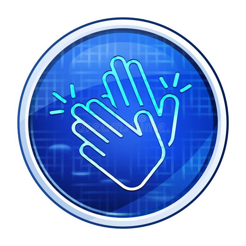 Hands clap icon futuristic blue round button  illustration. Hands clap icon isolated on futuristic blue round button  illustration vector illustration
