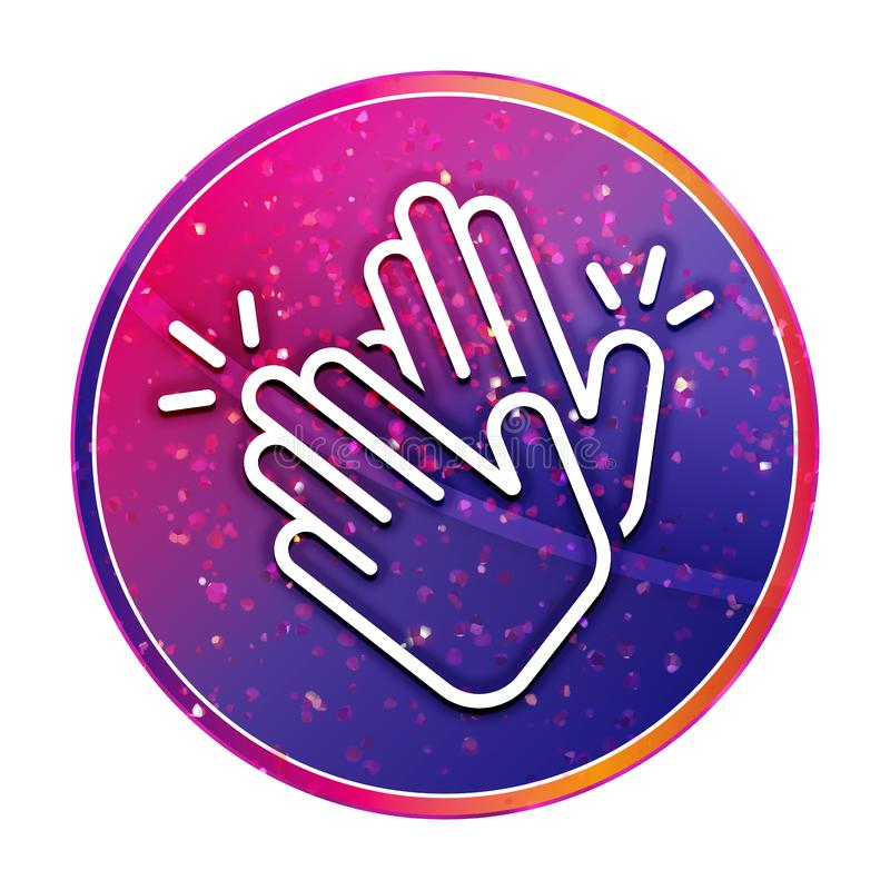 Hands clap icon creative trendy colorful round button illustration. Hands clap icon isolated on creative trendy colorful round button illustration vector illustration
