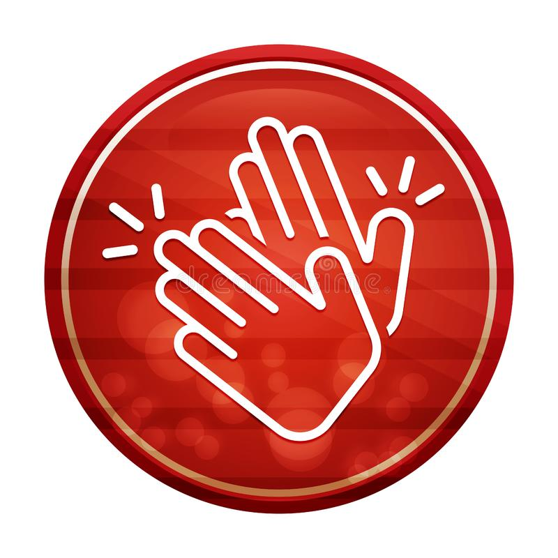 Hands clap icon realistic diagonal motion red round button illustration. Hands clap icon isolated on realistic diagonal motion red round button illustration royalty free illustration
