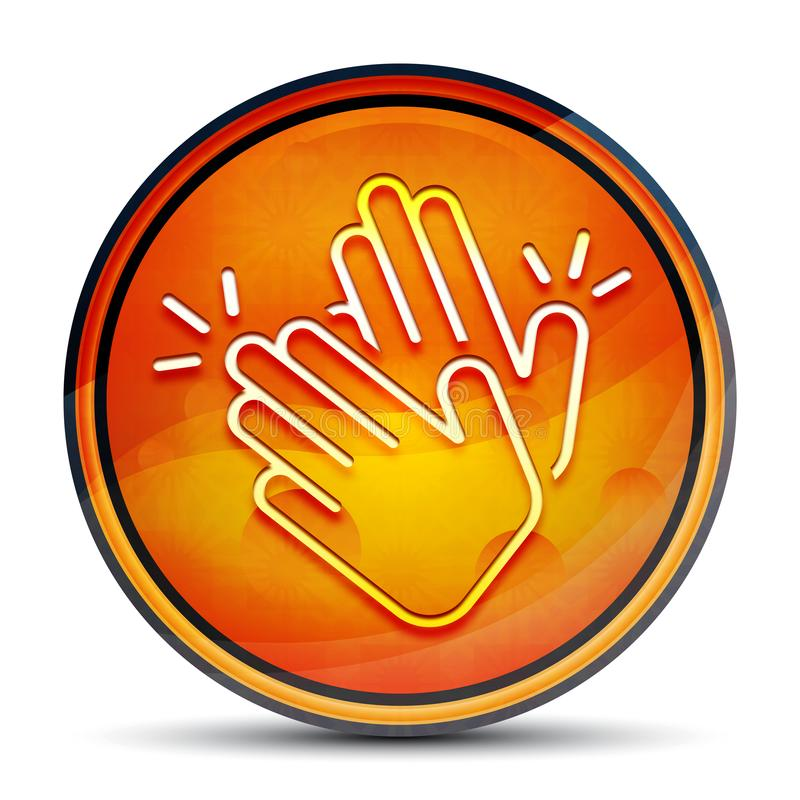 Hands clap icon shiny bright orange round button illustration. Hands clap icon isolated on shiny bright orange round button illustration stock illustration