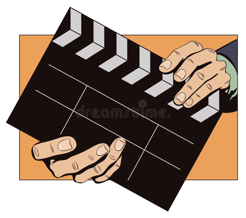 Hands with clapperboard. Stock illustration. Style of pop art and old comics. Hands with clapperboard royalty free illustration