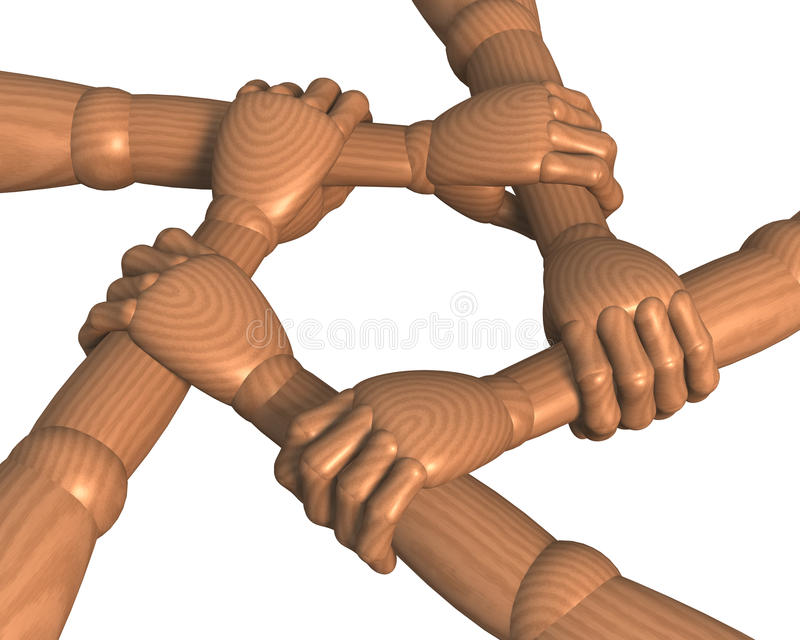 Hands Clasping Forearms Ring, Team Building Stock Photos