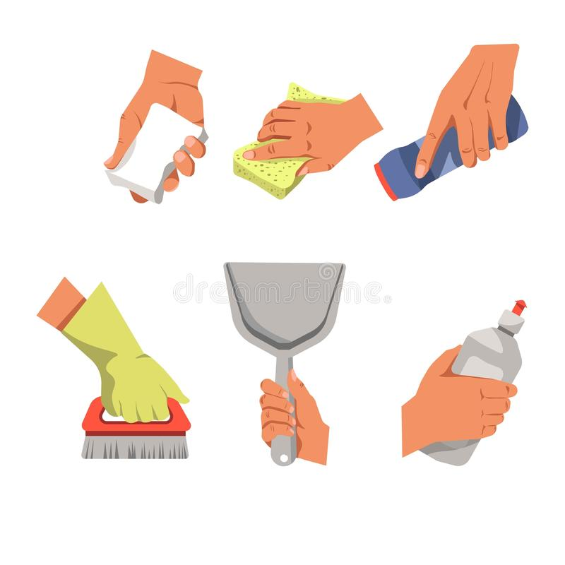 Hands with cleaning equipment. Vector illustration of the hands during the different house cleaning procedures isolated on white royalty free illustration
