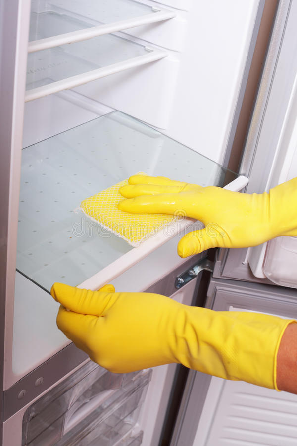 Hands cleaning refrigerator. royalty free stock photo