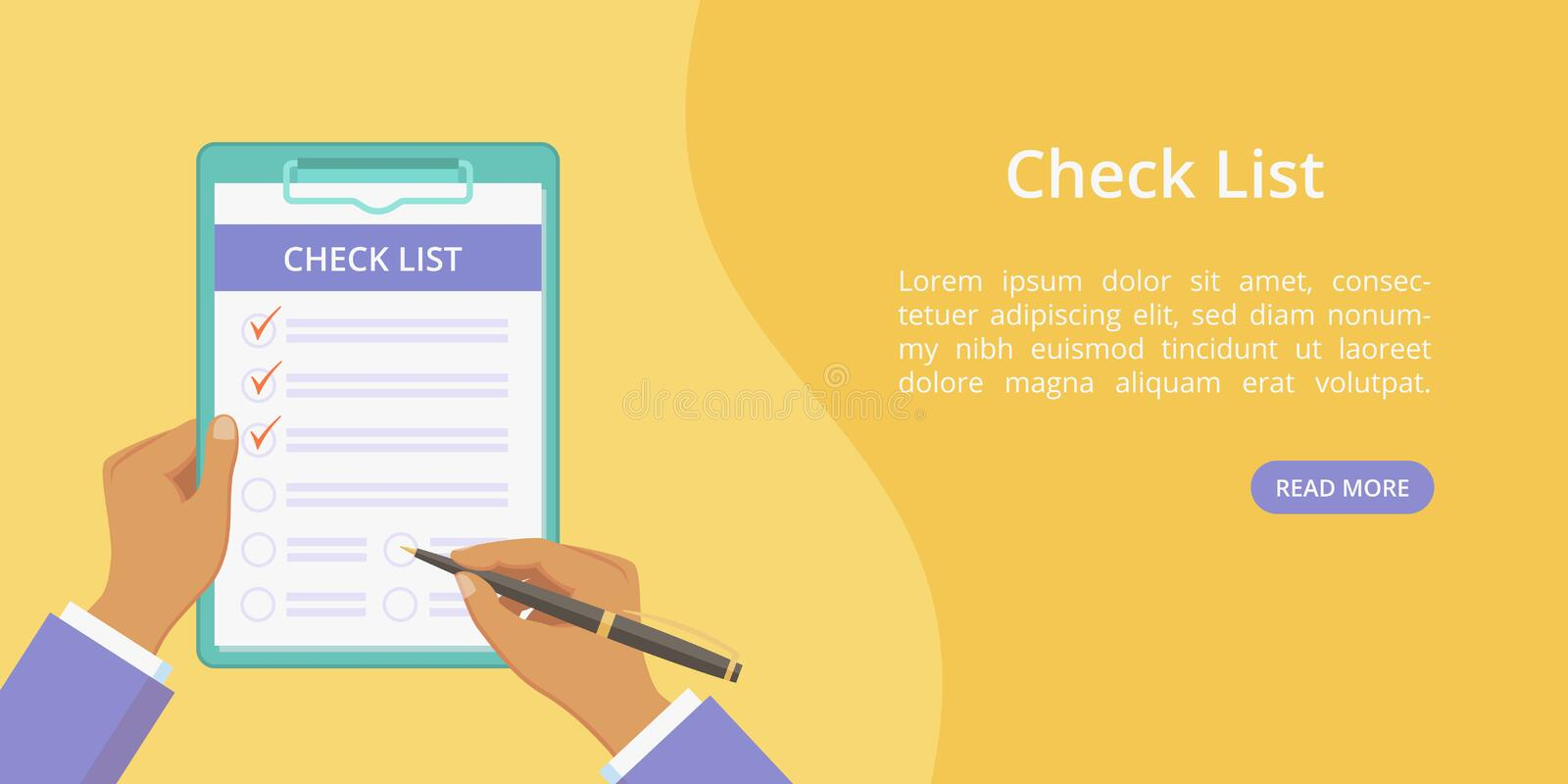 Hands with clipboard check list web page template. Vector landing concept flat man hand holding checklist on board with paper clip. Yellow web illustration royalty free illustration