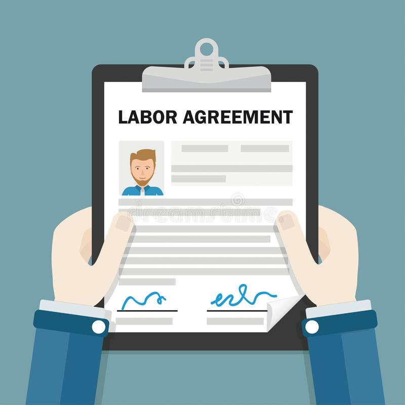 Hands Clipboard Labor Agreement vector illustration