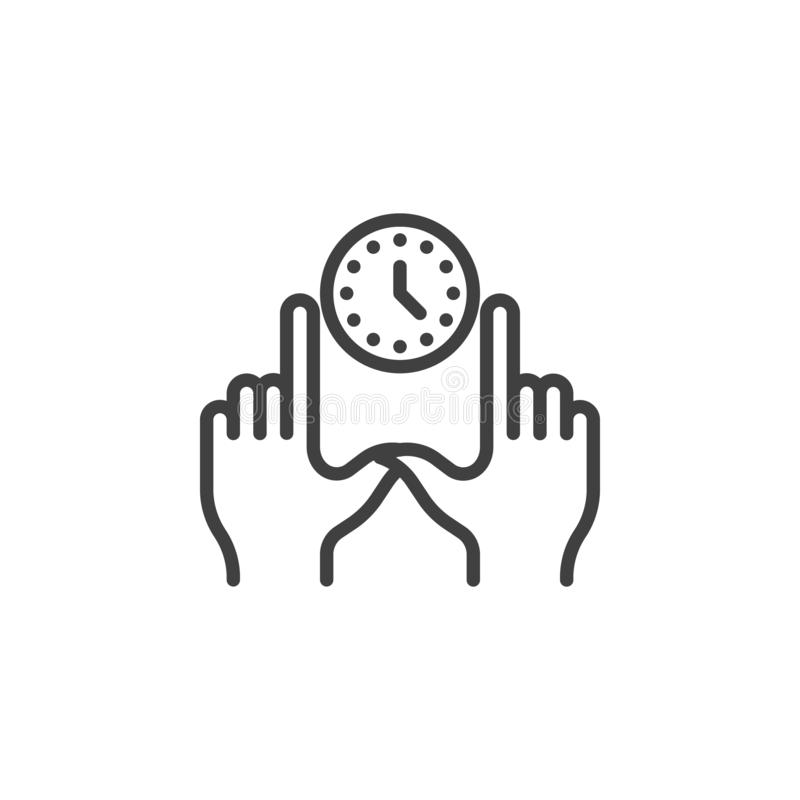 Hands with clock line icon stock illustration