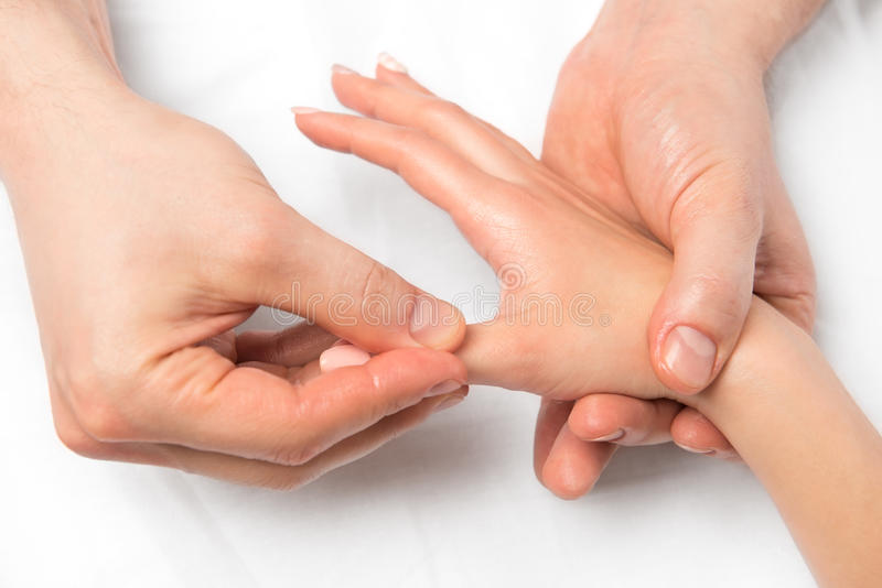 Hands close-up, massage technique of hands view royalty free stock image