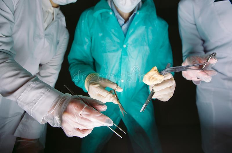 Hands close-up of surgeons holding medical instruments. The surgeon makes an operation stock images