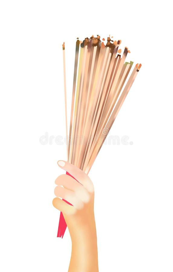 Hands Clutching Lit Incense Sticks. Hand Drawing, Prayer Holding and Waving Smoking Incense Sticks at A Temple Isolated on White Background stock image