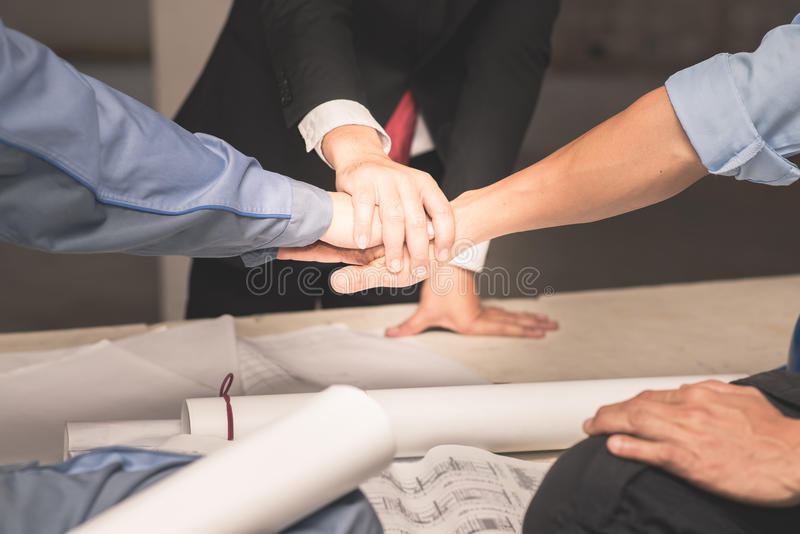 Hands of collaboration teamwork concept royalty free stock photo