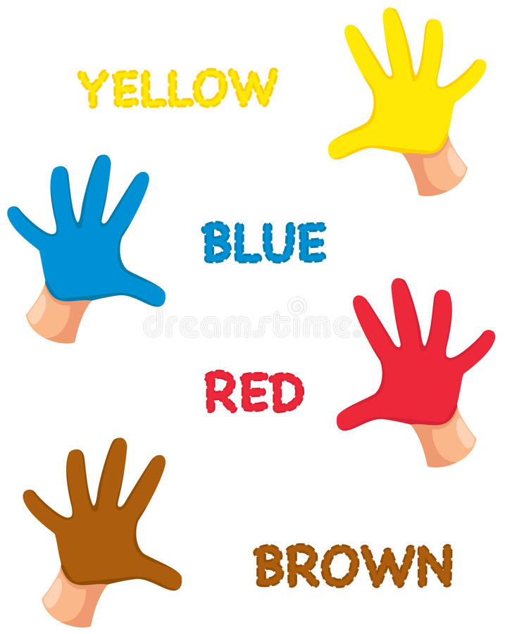 Hands colours with letters. Illustration of isolated hands colours with letters stock illustration