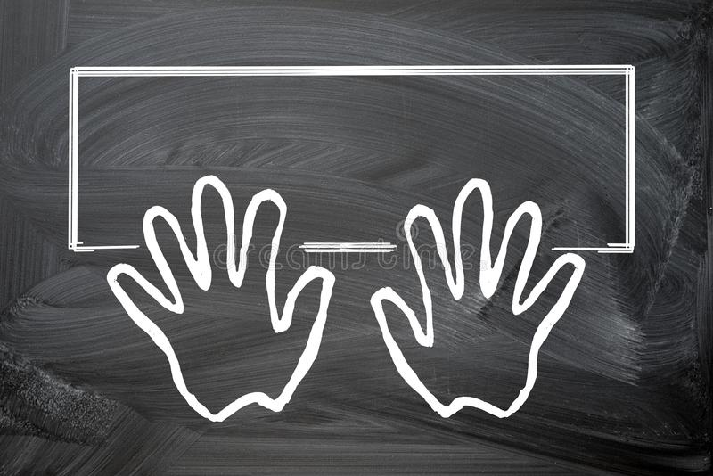 Hands on computer keyboard. Flat design. Silhouette chalk drawings on a blackboard. Copy space for your text inside the frame of keyboard stock illustration