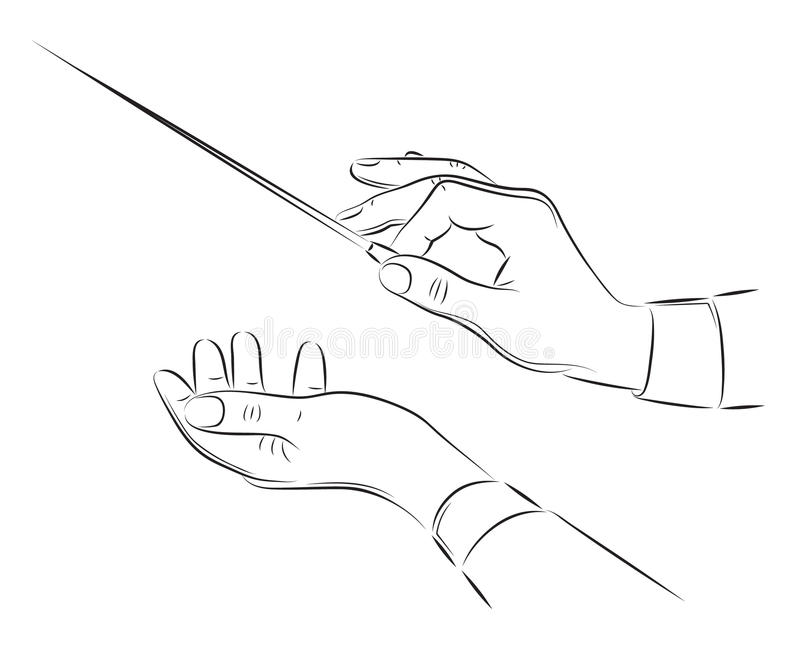 Hands of conductor illustration stock images