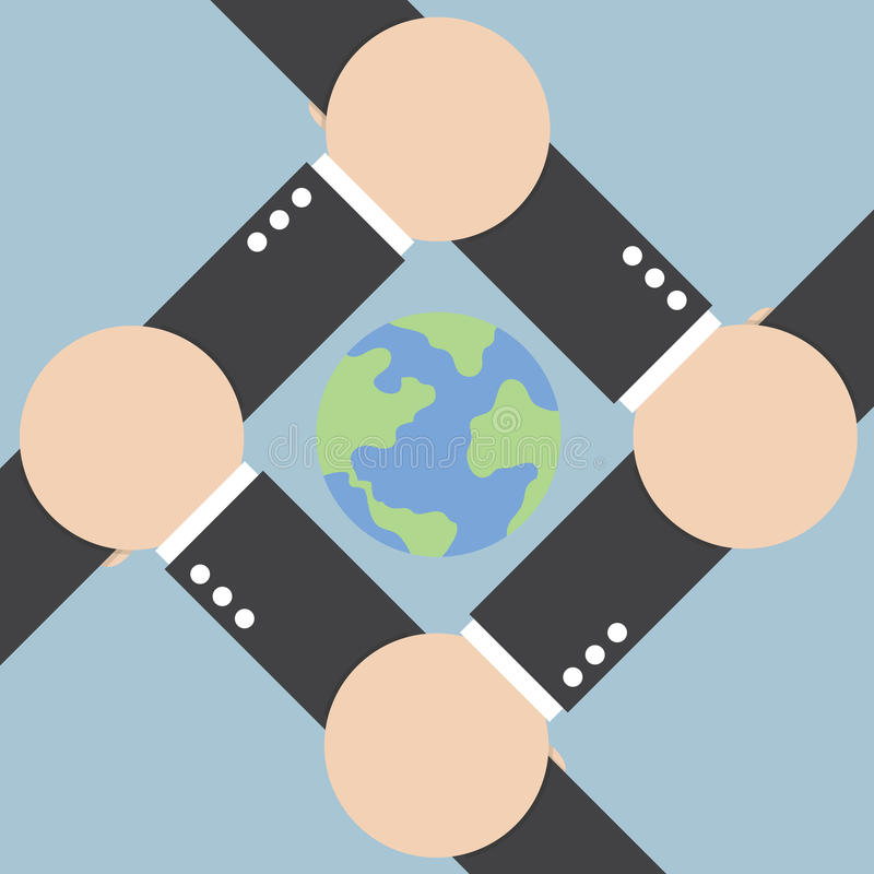 Hands connecting around the world. VECTOR, EPS10 vector illustration