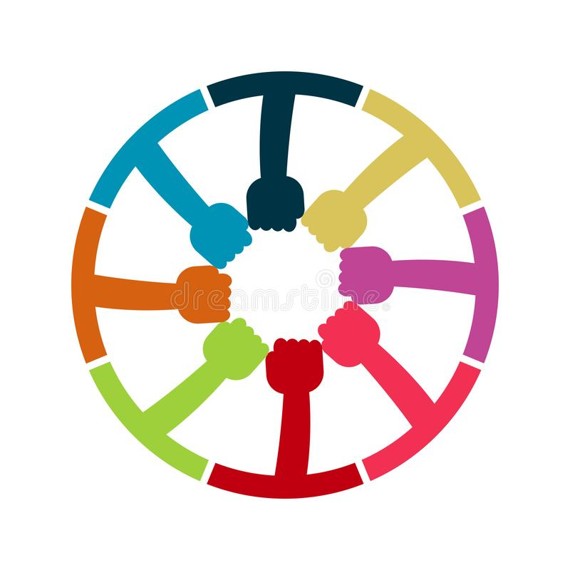 Hands Connecting Concept,Group of Holding handle in a circle the summit workers are meeting in the same power room stock illustration
