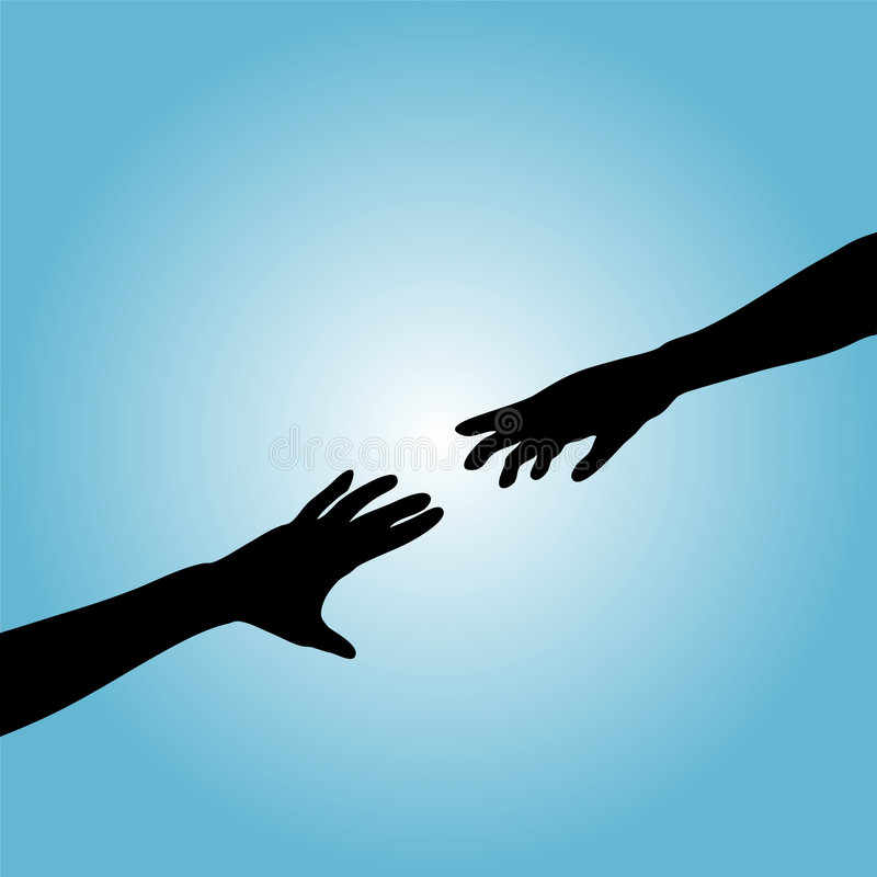 Hands Couple Silhouette Reach royalty free illustration