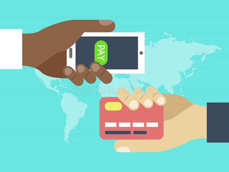 Hands with credit card and contactless wireless mobile phone for payment. Mobile payment. Using mobile smartphone for royalty free illustration