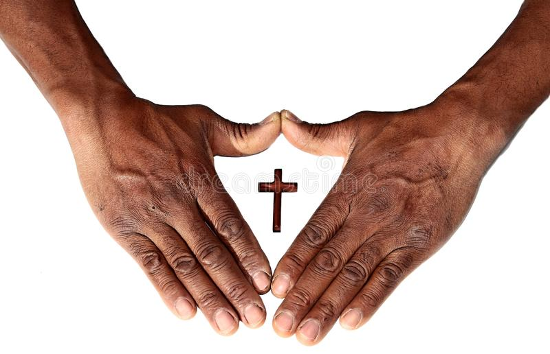 Hands with cross symbolizing love of god. Image of Hands with cross symbolizing love of god stock image
