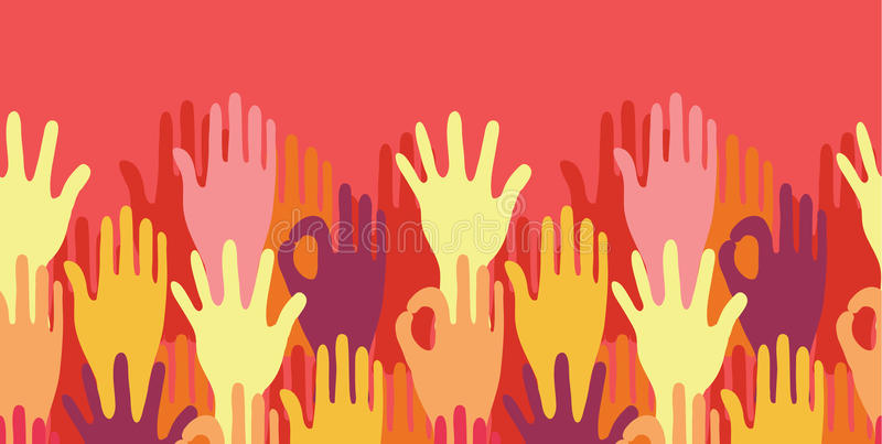 Download Hands In The Crowd Horizontal Seamless Pattern Stock Vector - Image: 32495225