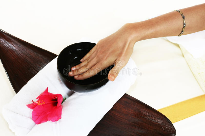 Hands and a cup with aloe. Hands of the masseur with a cup with aloe royalty free stock photos