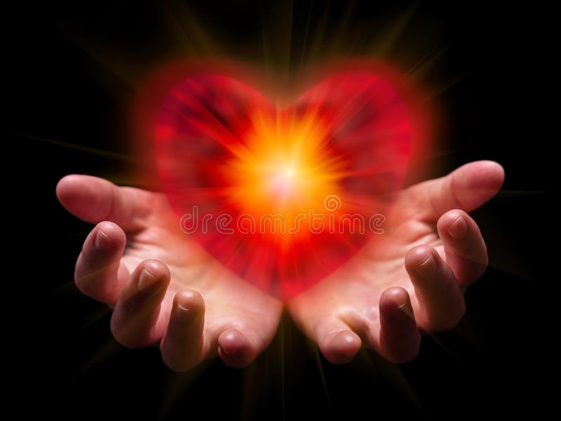 Hands cupped and holding or showing romantic red heart for Valentine or Valentines Day. With bright, glowing, shining light. Concept for offering, giving in stock photos