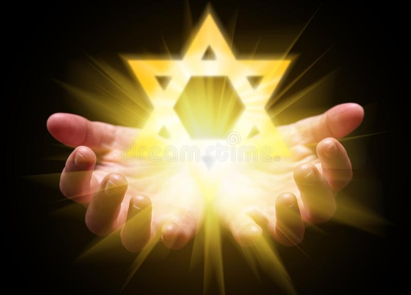 Hands cupped and holding or showing the Star of David. Magen David or Seal of Solomon stock image