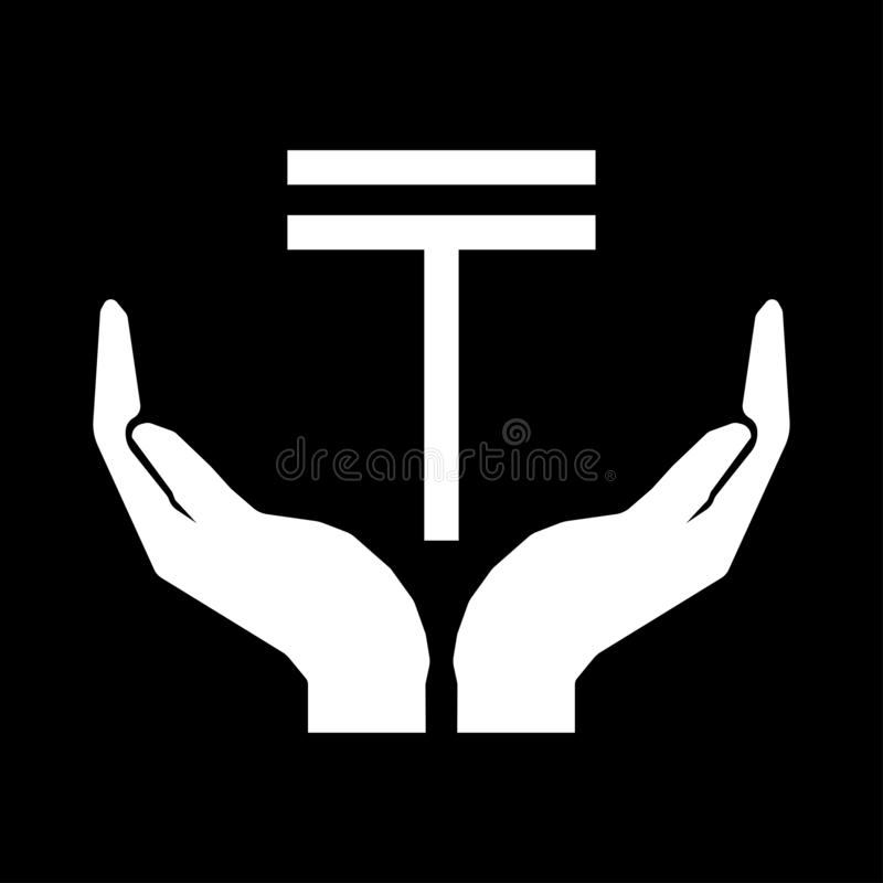 Hands and currency sign. Tenge Kazakhstan. Take care money sign - white on black background. Eps ten vector illustration