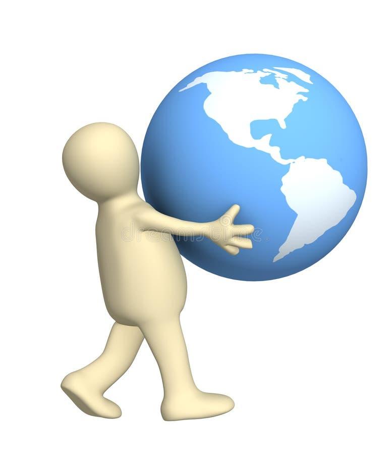 hands det bärande jordklotet 3d personen vektor illustrationer