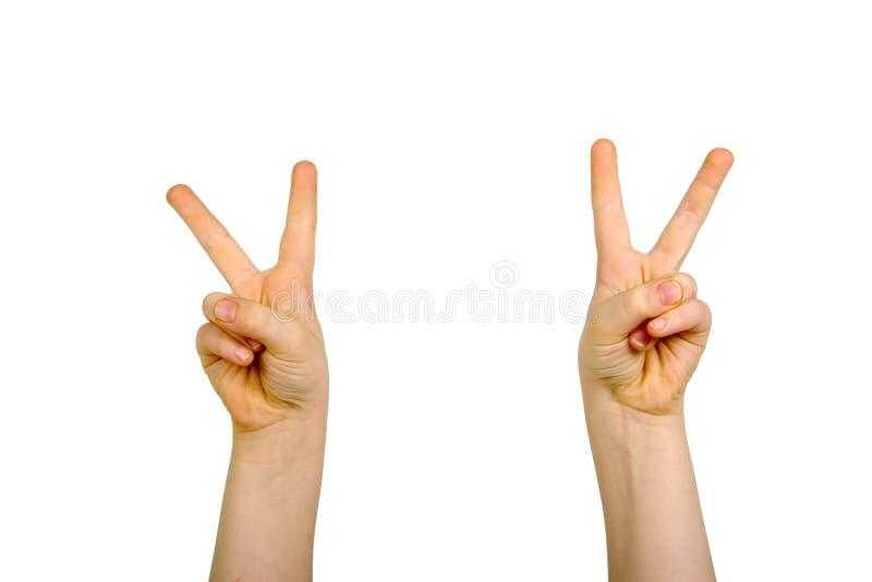 hands det fred lyftta tecknet royaltyfri bild