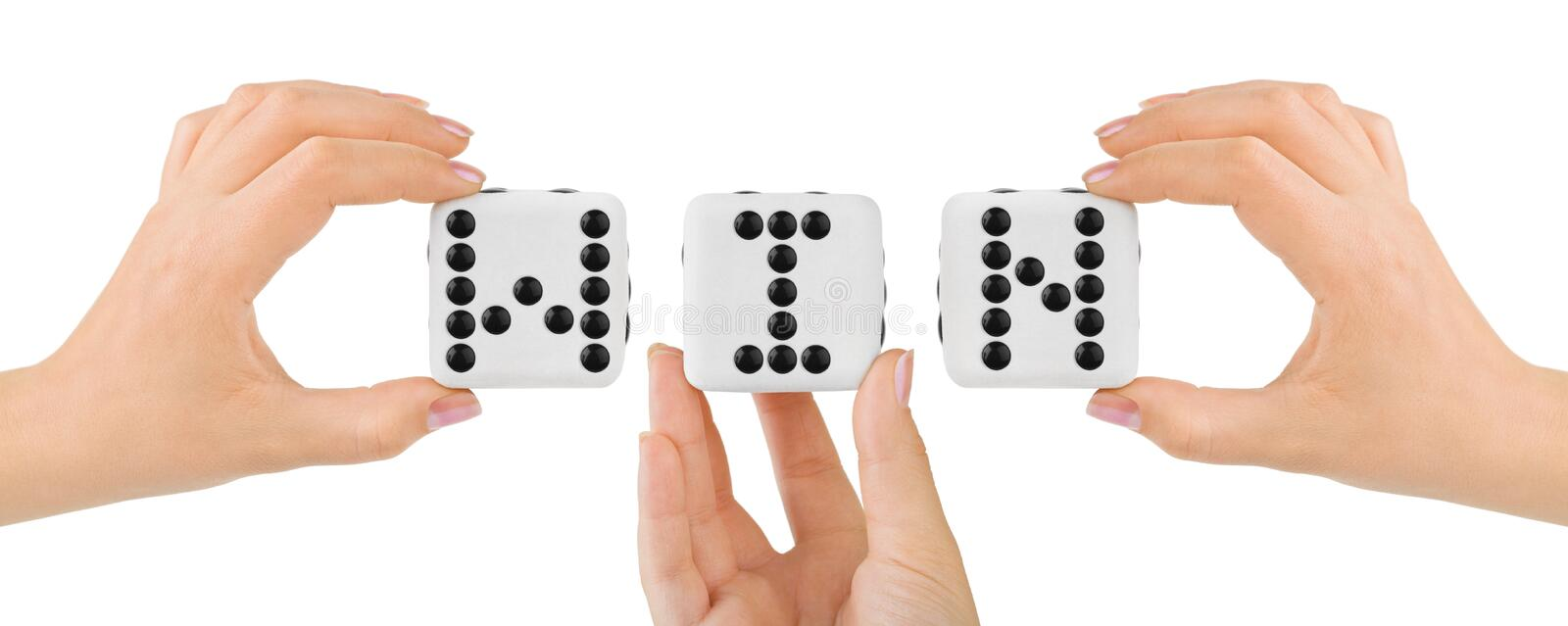 Hands and dices Win. Isolated on white background stock image