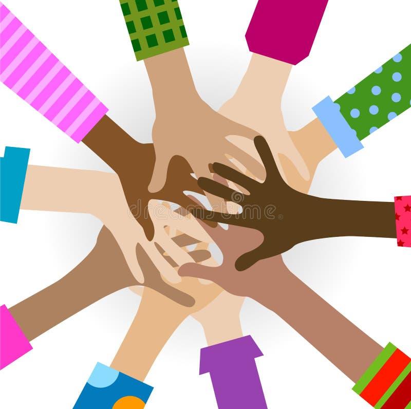 Hands diverse togetherness stock image