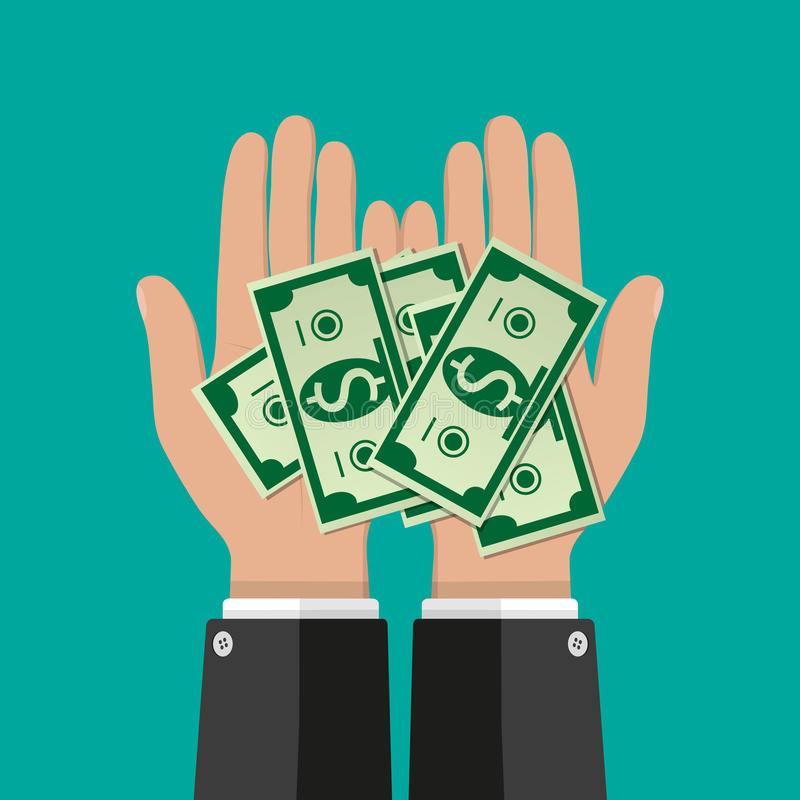 Hands with dollar banknotes. Concept of savings, donation, paying. vector illustration in flat style on green background vector illustration