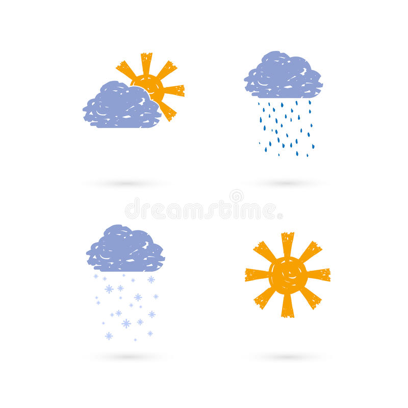 Download Hands draw meteo icons stock vector. Image of ornament - 23966105