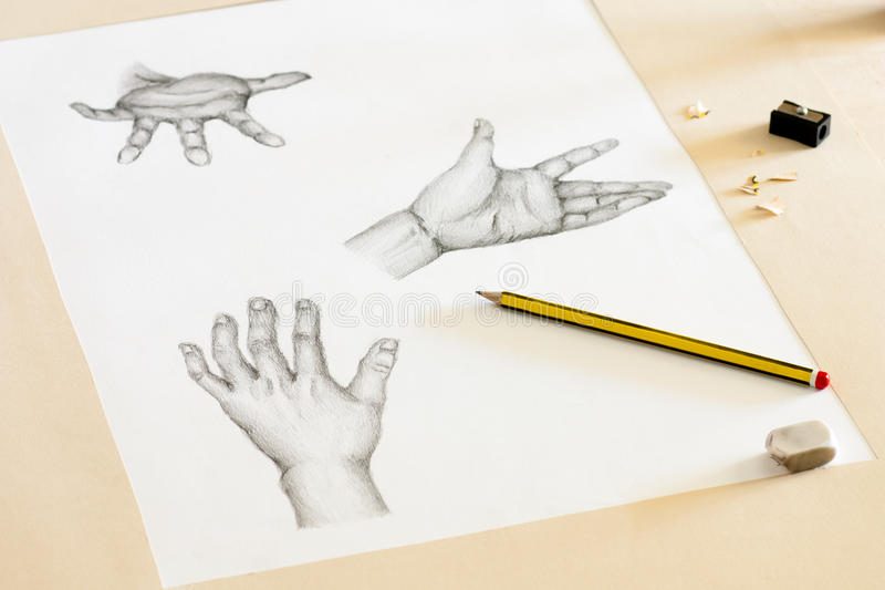 Hands Drawing stock images