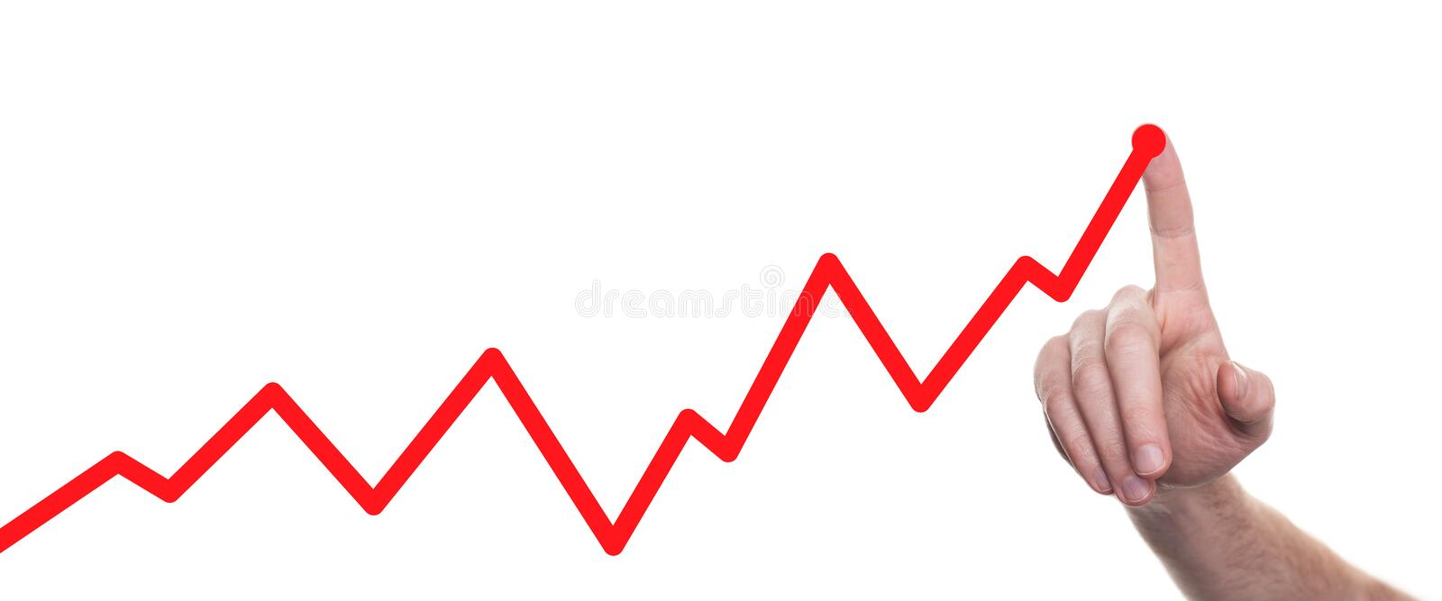 Hands drawing line chart and business strategy. Success concept royalty free stock photography